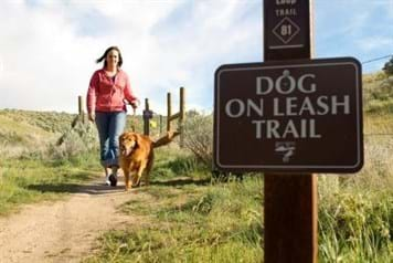 "Woman walks on trail with leashed dog. Large sign in foreground reads ""Dog On Leash Trail""."