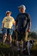 Older couple on trail with dog walking with them not on leash