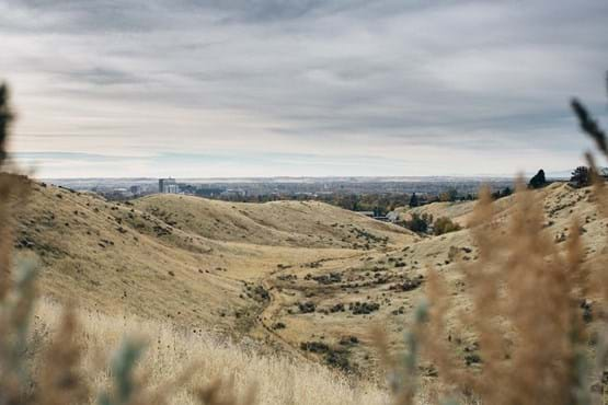 View of downtown Boise from the foothills. Features grassy hills with dirt trail and blue sky view.