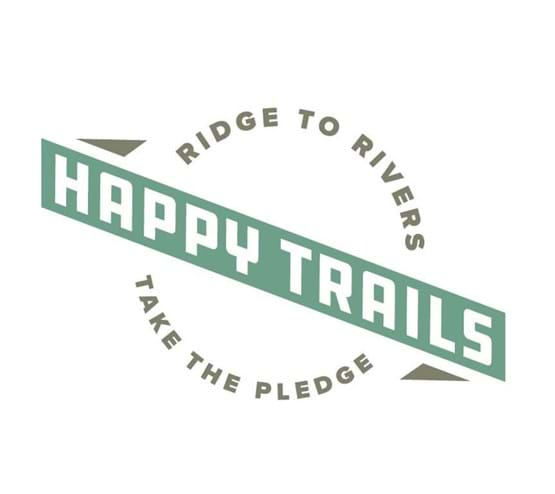 "Logo that reads Ridge to Rivers ""Happy Trails"" Take the Pledge"